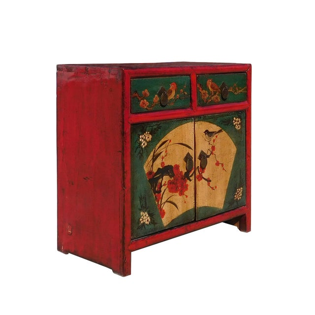 Chinese Red Green Flower Bird Nightstand - Image 3 of 6