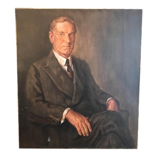 Vintage Mid-Century Oil Portrait of Man in Chair, Signed