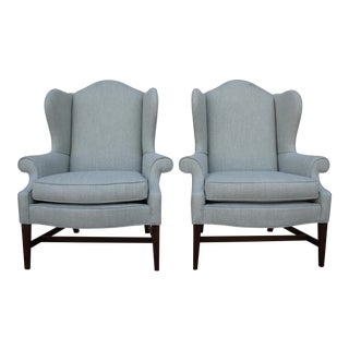 Aqua Herringbone Wingback Chairs - A Pair