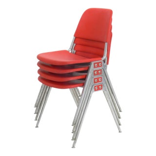 Don Albinson for Knoll Model 1601 Red Stacking Chair - Set of 4