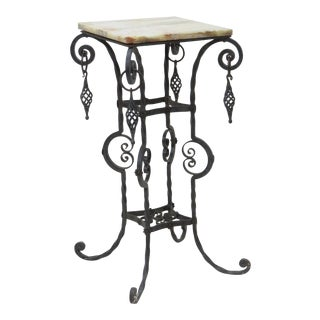 Victorian Style Iron & Marbletop Pedestal