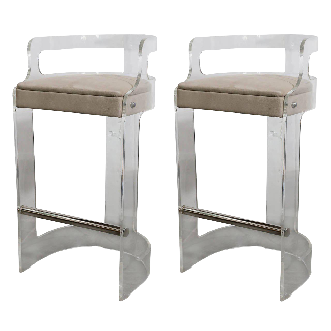 image of pair of charles hollis jones lucite bar stools