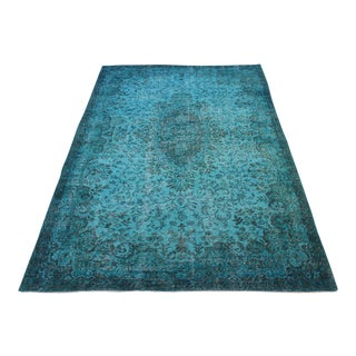 "Turkish Overdyed Turquoise Area Rug - 5'7"" X 9'1"""