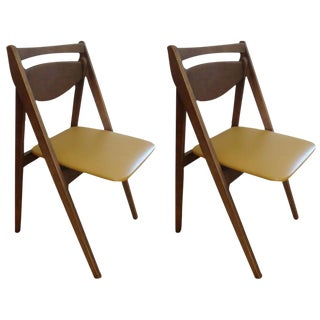 1950s Stakmore Leather & Walnut Folding Chairs - A Pair