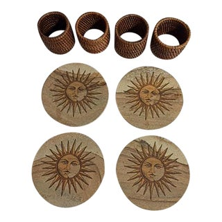 Sandstone Sun Coasters & Wicker Napkin Rings - Set of 8