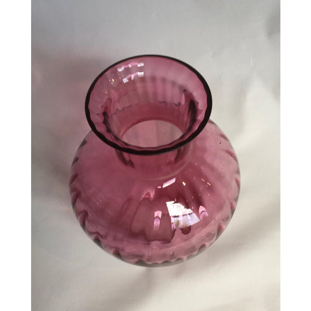 Vintage 1960s Pilgrim Glass Co. Cranberry Ribbed Glass Vase - Image 2 of 7