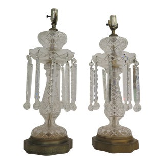 1950's Monumental Bavarian Cut Crystal Lamps - a Pair