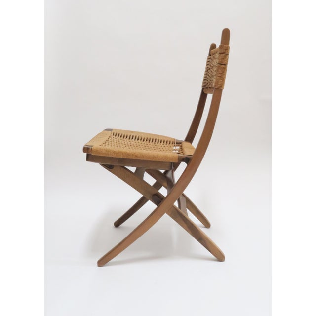 Vintage Danish Modern Rope Folding Chair - Image 4 of 7