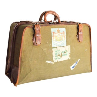 Vintage World Traveler Canvas & Leather Garment Bag