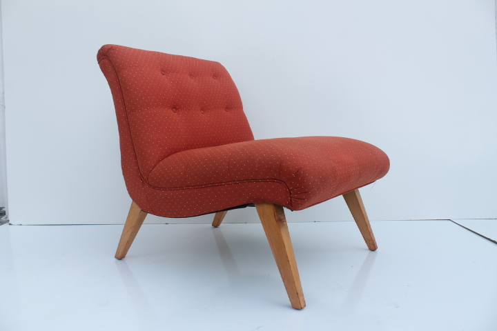 Jens Risom For Knoll Red Slipper Chair   Image 2 Of 11