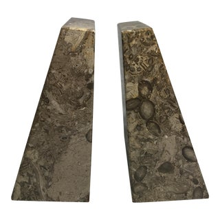 Pakistan Fossil Brown Limestone Bookends - A Pair