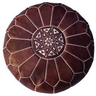 Brown Leather Moroccan Pouf