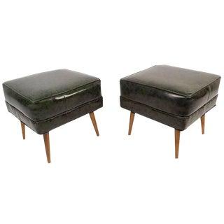 Mid-Century Vinyl & Brass Mottled Footstools - a Pair