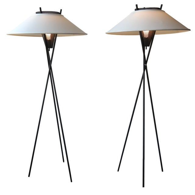 Image of Gerald Thurston Tripod Floor Lamps- A Pair