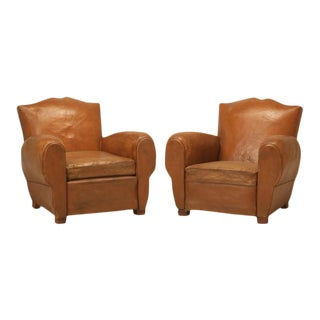 Moustache Style French Leather Club Chairs - A Pair