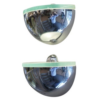 Pair of Rounded Chrome Sconces in the Style of Fontana Arte