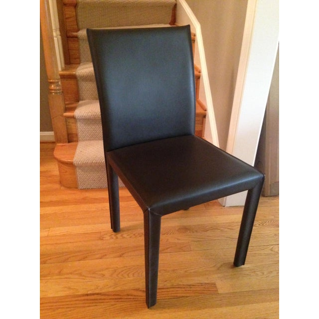 Crate & Barrel Leather Dining Chairs - Set Of 6