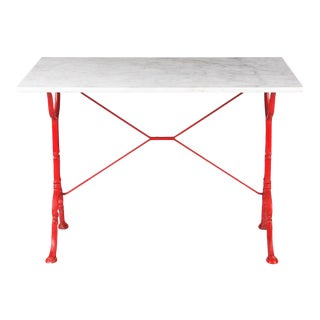 Mid-Century Marble Top Bistro Table with Red Iron Base by Godin,1950s