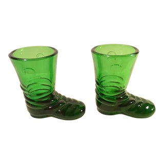 Mid-Century Green Glass Boot Shot Glasses - A Pair