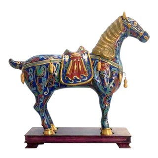 Vintage Chinese Cloisonne Horse Statue on Stand