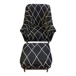 Black & White Harlequin Armchair & Ottoman