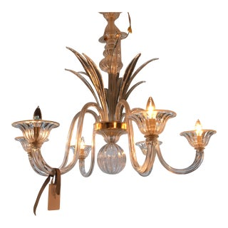 Venetian 6-Arm Chandelier with Leaf Accent