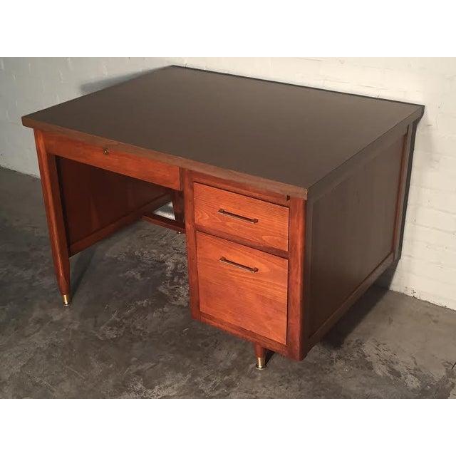Hoosier Mid-Century Modern Walnut Desk - Image 10 of 10