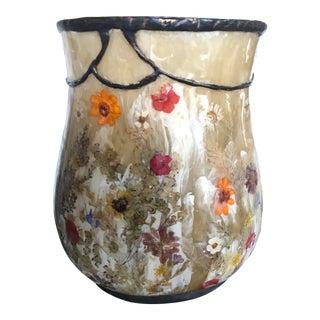 Lucite Pressed Flowers Vase