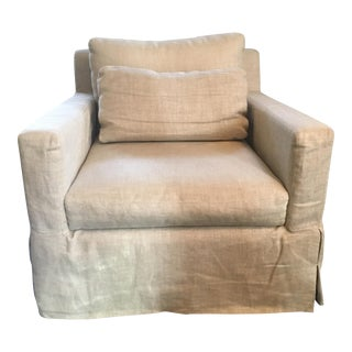 Restoration Hardware Upholstered Swivel Armchair
