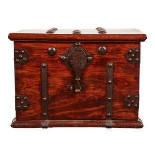 18th Century Iron Bound Chest with Metalwork
