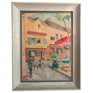 Mid-Century Paris Street Watercolor