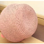 Image of Double Woven Sea Grass Pastel Pink Pom Poms Belly Basket