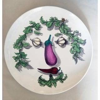 Piero Fornasetti Vegetable Face Ceramic Plate, Arcimboldesca Pattern