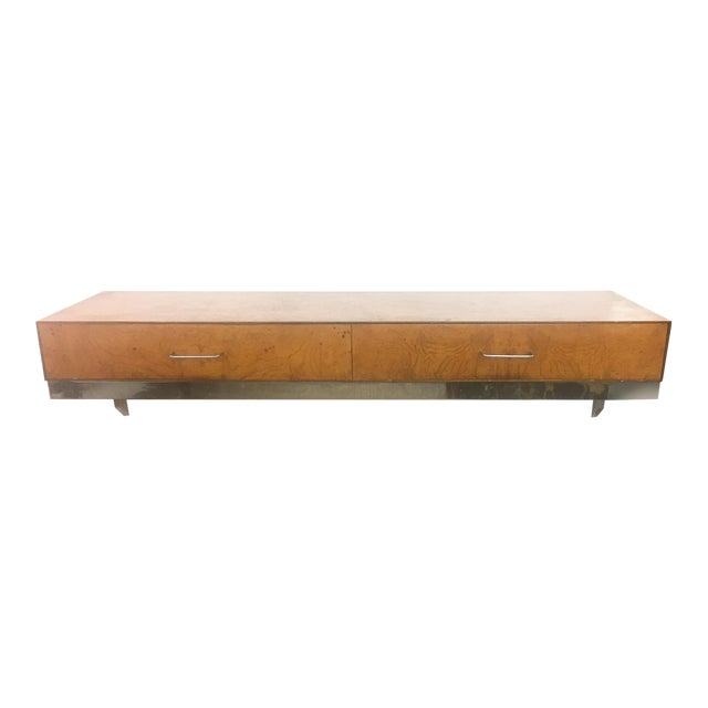 Mid-Century Burlwood Floating Console Table, Desk - Image 1 of 10