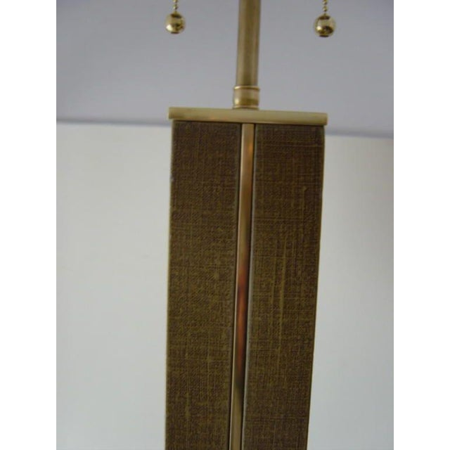 Karl Springer Linen and Brass Floor Lamp - Image 3 of 6