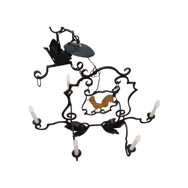 French Antique Rooster Sign Chandelier - Image 1 of 5
