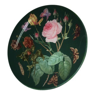 Reverse Glass Painting Roses & Butterflies Dish