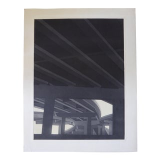 "Original Modern Industrial Graphic Silkscreen, ""Underpass #2"""