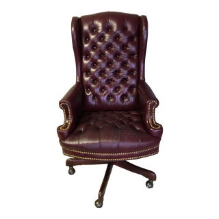 Whitehall Leather Oxblood Tufted Wing Back Chair
