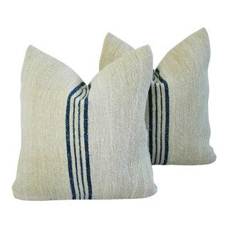 French Grain Sack Textile Pillows- A Pair