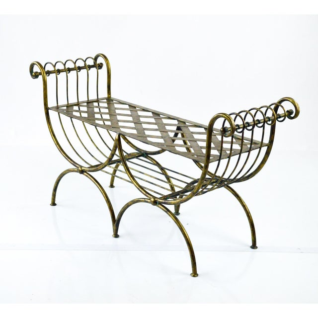 Hollywood Regency Italian Metal Bench, 1960's - Image 3 of 7