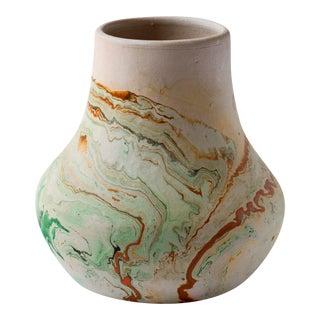 Vintage Green & Orange Nemadji Pottery Vase