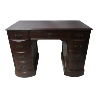 Vintage Mahogany 9-Drawer Desk