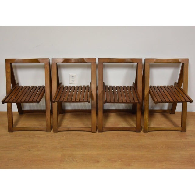 Walnut Dining Table and Self Storing Chairs - Set of 5 - Image 7 of 11