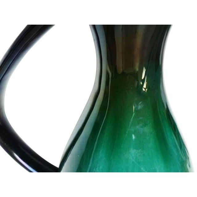 Mid-Century Turquoise & Black Drip Glaze Pitcher - Image 3 of 4