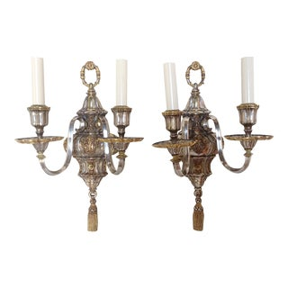 Antique E. F. Caldwell & Co Silver Plated Tassel Wall Sconces- A Pair