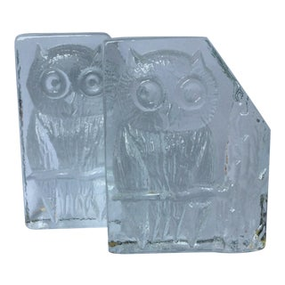 Mid-Century Modern Glass Owl Bookends