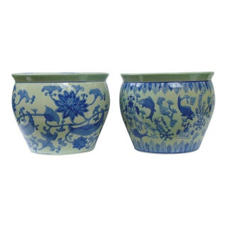 Pair of Vintage Similar Blue & White Chinese Cachepot
