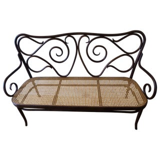 Thonet Style Bentwood Bench Settee with Cane Seat