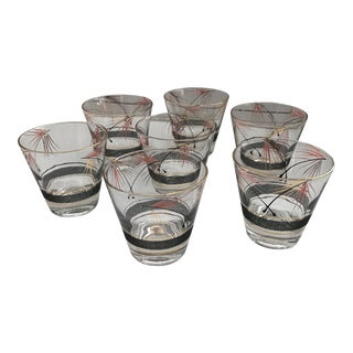 Vintage Lowball Glasses in Black, Pink & Gold - Set of 7